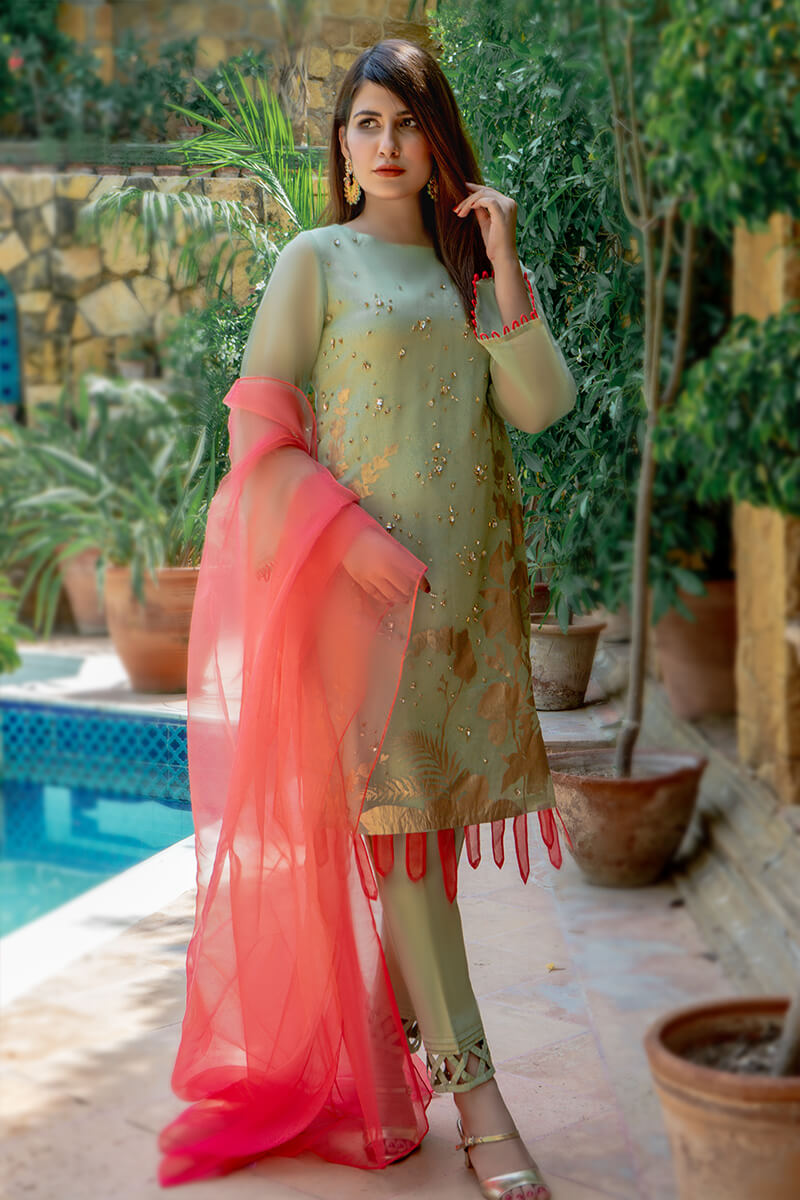 Buy Exclusive Pista Green And Coral Pink Luxury Pret – Sds517 Online in UK, USA & Pakistan