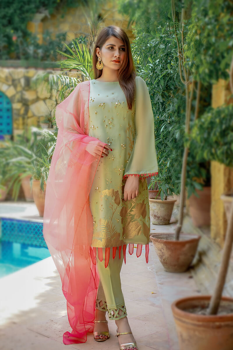 Buy Exclusive Pista Green And Coral Pink Luxury Pret – Sds517 Online in UK, USA & Pakistan - 01