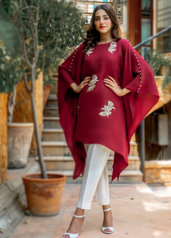 Buy Exclusive Maroon And Off White Casual Wear – Zzc40 Online in UK, USA & Pakistan - 02