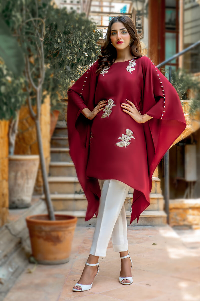 EXCLUSIVE MAROON AND OFF WHITE CASUAL WEAR 2021