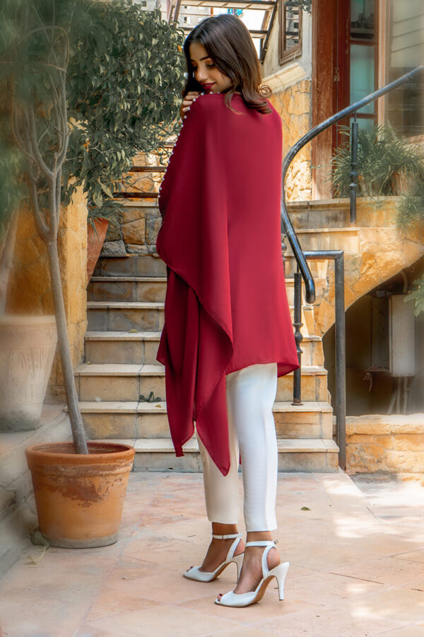 BBuy Exclusive Maroon And Off White Casual Wear – Zzc40 Online In USA, Uk & Pakistan - 01