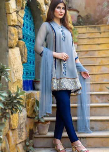 Buy Exclusive Gray And Blue Party Wear – Zzs39Online in UK, US & Pakistan - 02