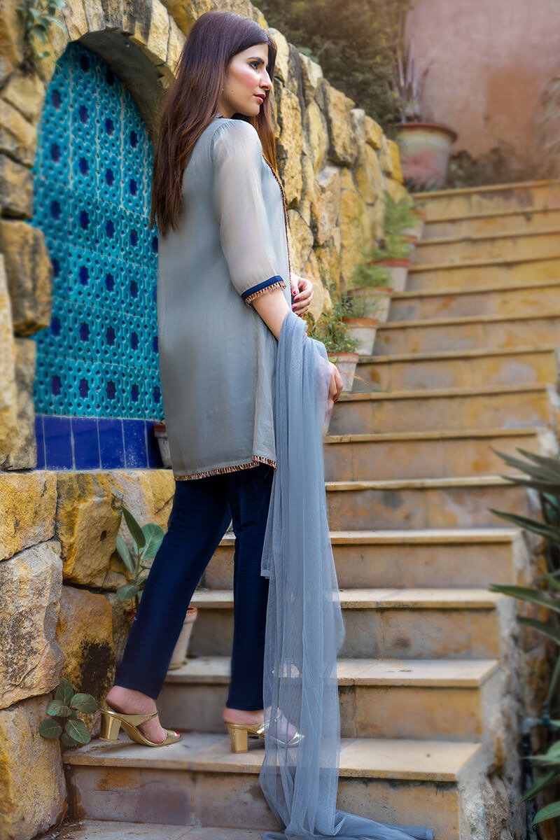 Buy Exclusive Gray And Blue Party Wear – Zzs39Online in UK, US & Pakistan - 01
