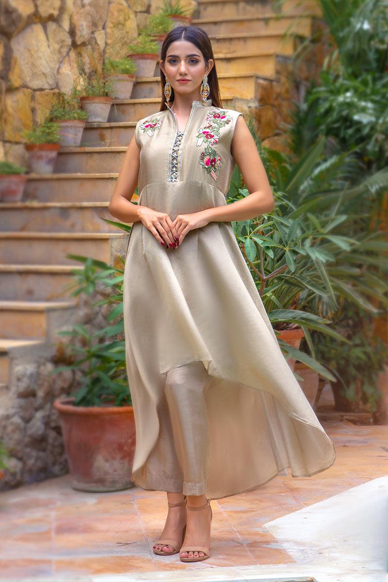 Buy Exclusive Beige Party Wear – Zzs41 Online In USA, Uk & Pakistan - 02