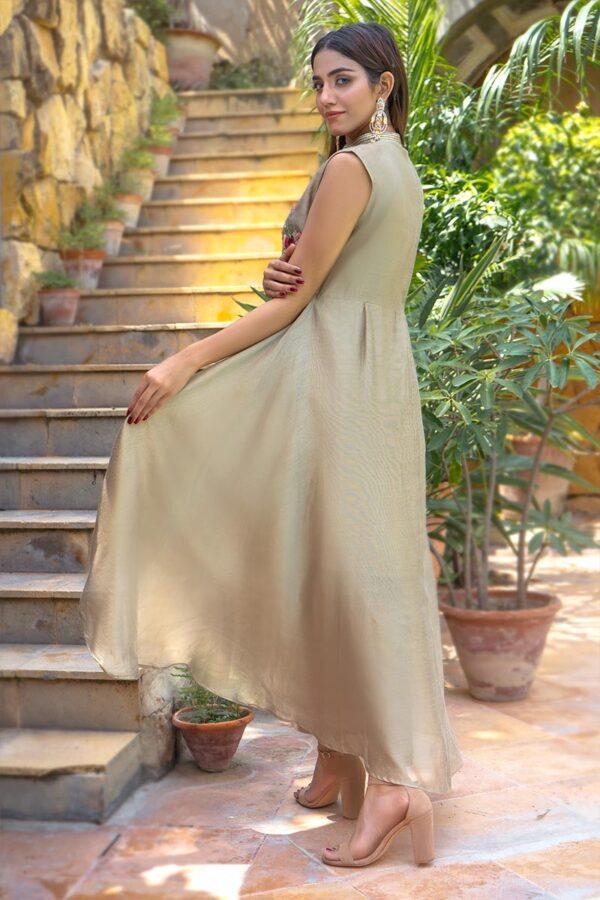Buy Exclusive Beige Party Wear – Zzs41 Online In USA, Uk & Pakistan - 01
