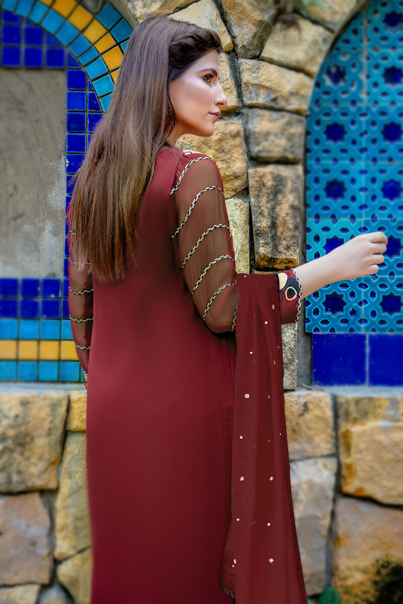 Buy Exclusive Maroon And Gold Party Wear – Zzs46 Online in UK, USA & Pakistan - 02