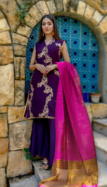 Buy Exclusive Purple Party Wear – Zzs47 Online in UK, USA & Pakistan