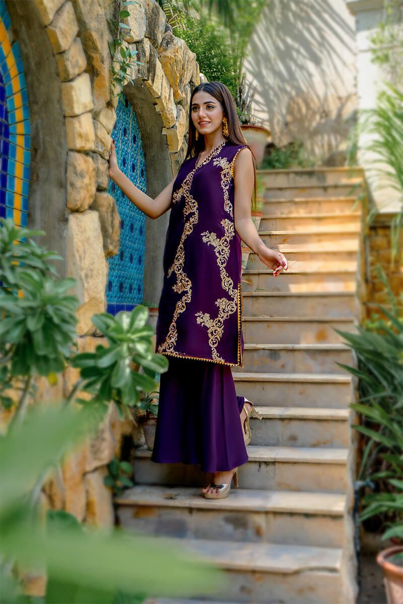 Buy Exclusive Purple Party Wear – Zzs47 Online in UK, USA & Pakistan - 01
