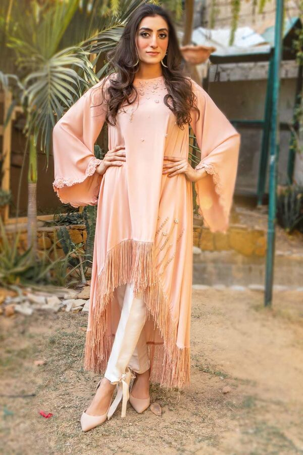 EXCLUSIVE PEACH AND OFF WHITE LUXURY PRET - SDS132