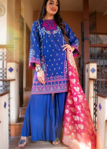 EXCLUSIVE BLUE AND PINK LUXURY PRET - ZZS1005 (Unstitched)