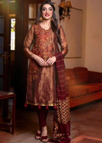 EXCLUSIVE MAROON AND GOLDEN LUXURY PRET - ZZS1023 (Unstitched)