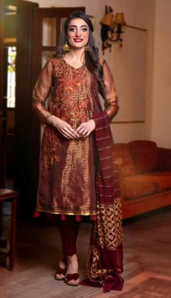 EXCLUSIVE MAROON AND GOLDEN LUXURY PRET 2021