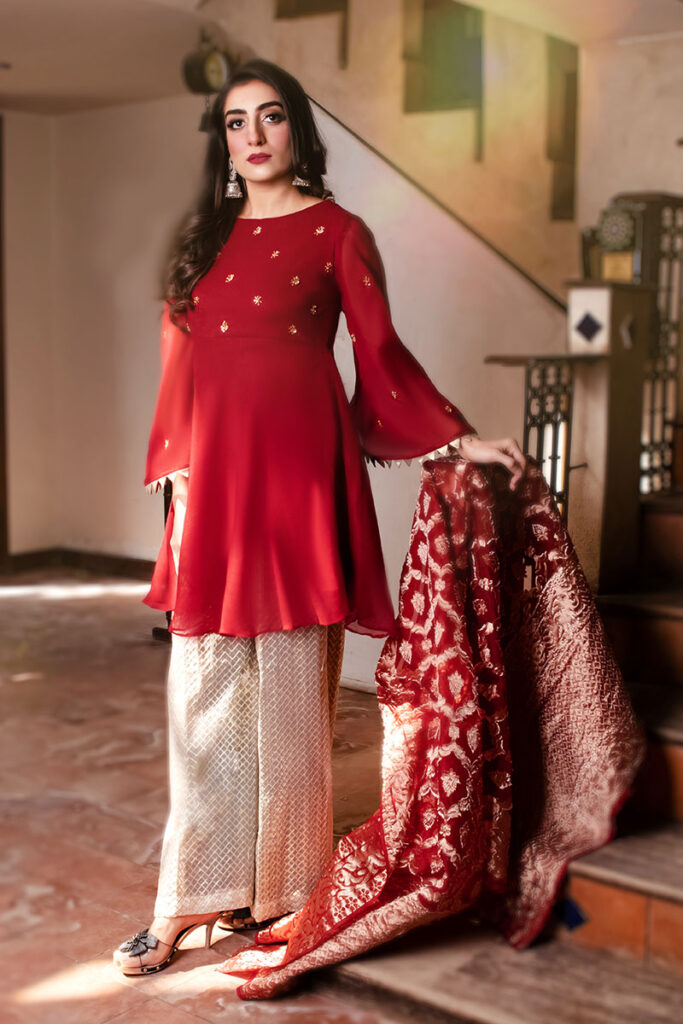 EXCLUSIVE RED AND OFF WHITE LUXURY PRET 2021