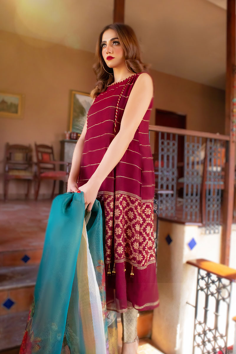 EXCLUSIVE MAROON AND GOLDEN CASUAL WEAR 2021