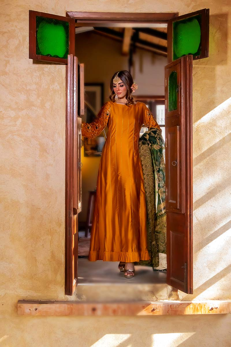 EXCLUSIVE MUSTARD AND BOTTLE GREEN PARTYWEAR - ZZS1037