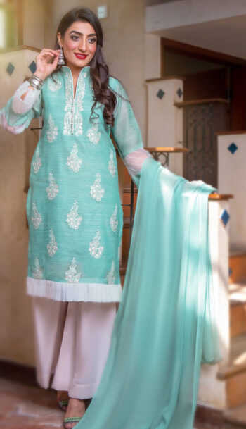EXCLUSIVE AQUA GREEN AND OFF WHITE LUXURY PRET 2021