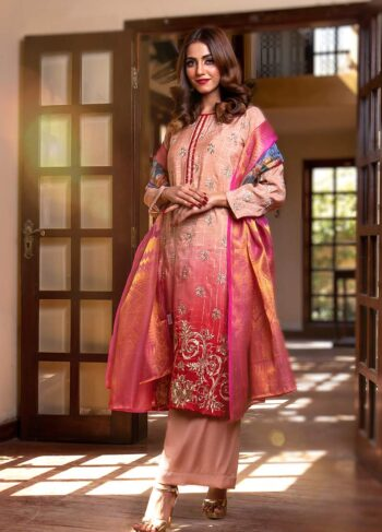 EXCLUSIVE TEA PINK AND RED LUXURY PRET - ZZS1045 (Unstitched)