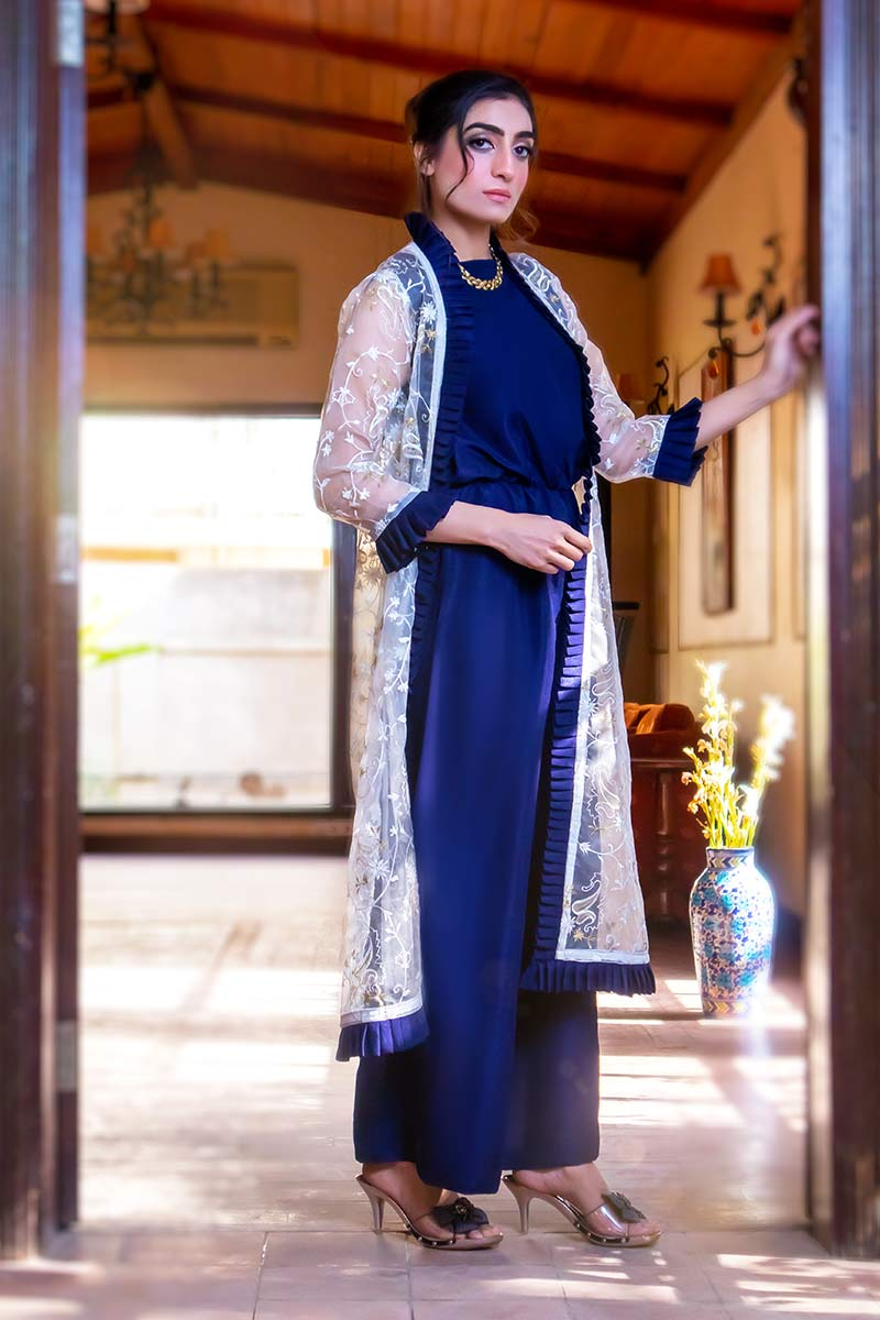 EXCLUSIVE OFF WHITE AND BLUE LUXURY PRET 2021